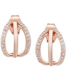 Diamond Openwork Huggie Hoop Earrings (1/8 ct. t.w.) in 10k Rose Gold