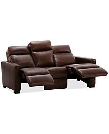 "Hayvon 77"" Leather Dual Power Studio Sofa"