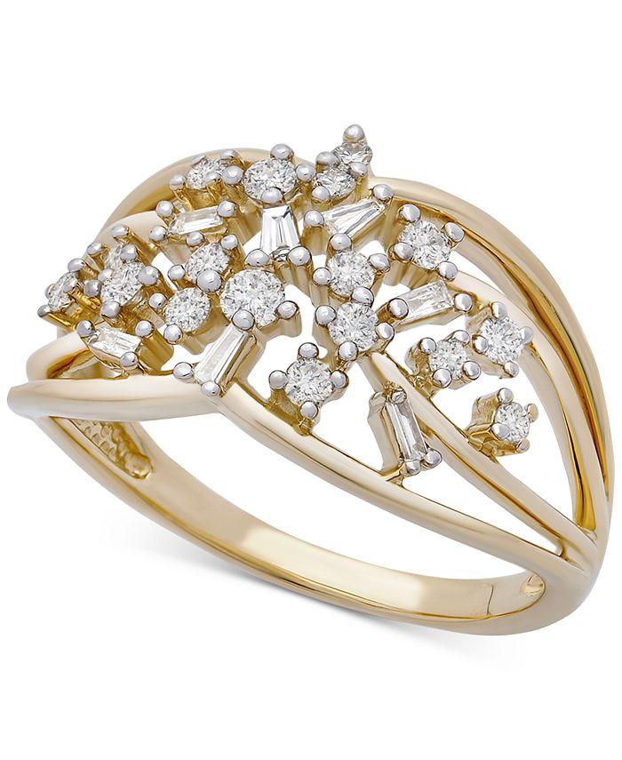 Macy's - Diamond Openwork Scatter Statement Ring (1/3 ct. t.w.) in 10k Gold