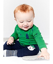 Baby Boys Cotton 3-Pc. Polar Bear Bodysuit, Top & Jogger Pants Set