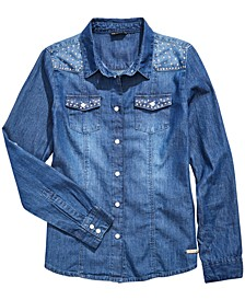 Big Girls Cotton Studded Denim Shirt
