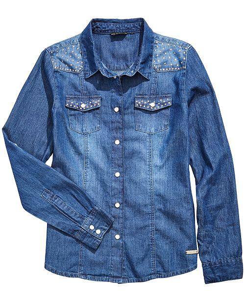GUESS Big Girls Cotton Studded Denim Shirt