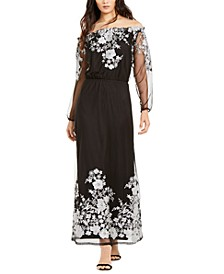 INC Embroidered Off-The-Shoulder Maxi Dress, Created For Macy's