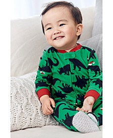 Baby Boys Footed Fleece Santa-Hat Dinos Pajamas