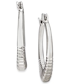 "Silver-Tone Small Tapered & Ribbed Hoop Earrings, 1"", Created For Macy's"