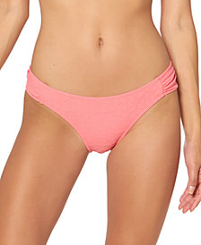 Jessica Simpson Rose Bay Textured Shirred Bikini Bottoms