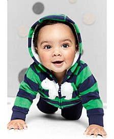 Baby Boys 3-Pc. Striped Fleece Hoodie, Printed Bodysuit & Pants Set