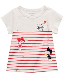Baby Girls Dog-Print Striped T-Shirt, Created For Macy's