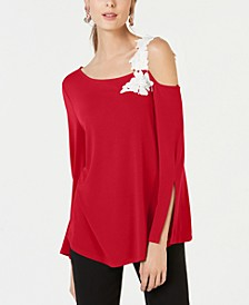 Petite One-Shoulder Appliqué Top, Created for Macy's