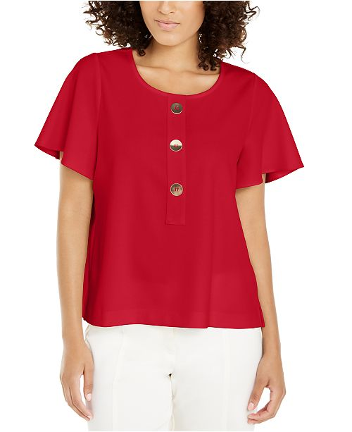 Alfani Petite Button-Front Flutter-Sleeve Top, Created For Macy's