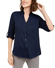 Juniors' Tab-Sleeve Button-Front Blouse