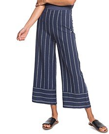 Tell Me Ok Striped Cropped Wide-Leg Pants