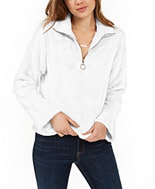 Juniors' Zip-Front Fuzzy Zip-Up Top