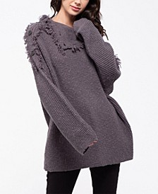 Distressed Convertible Neck Sweater