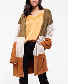 Color Block Faux Fur Cardigan