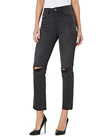 High-Rise Distressed Straight-Leg Jeans