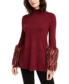 Petite Mock-Neck Sweater With Faux-Fur Cuffs, Created For Macy's