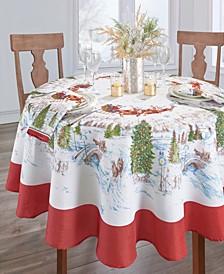"""Santa's Snowy Sleighride Tablecloth - 70"""""""