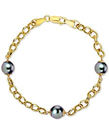 Cultured Tahitian Pearl (8mm) Link Bracelet in 18k Gold-Plated Sterling Silver