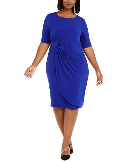 Connected Plus Size Solid Sarong Dress