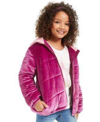 Big Girls Velvet Puffer Jacket, Created For Macy's