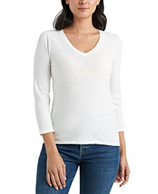 Cotton V-Neck 3/4-Sleeve Top