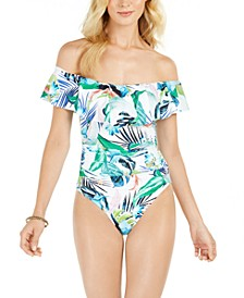 In The Moment Off-The-Shoulder Tummy Control One-Piece Swimsuit