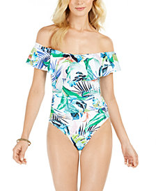 La Blanca In The Moment Off-The-Shoulder Tummy Control One-Piece Swimsuit