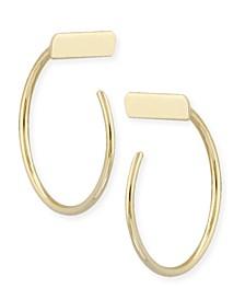 Bar Hoop Earrings Set in 14k Gold