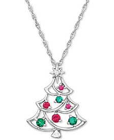 "Lab-Created Multi-Gemstone Christmas Tree 18"" Pendant Necklace (1/3 ct. t.w.) in Sterling Silver"