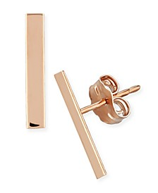 Flat Bar Stud Earrings Set in 14k Yellow or Rose Gold