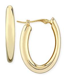 Fluid Oval Hoop Earrings Set in 14k Gold
