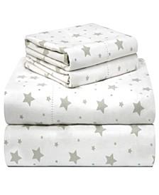 Printed Flannel Cal King Sheet Set