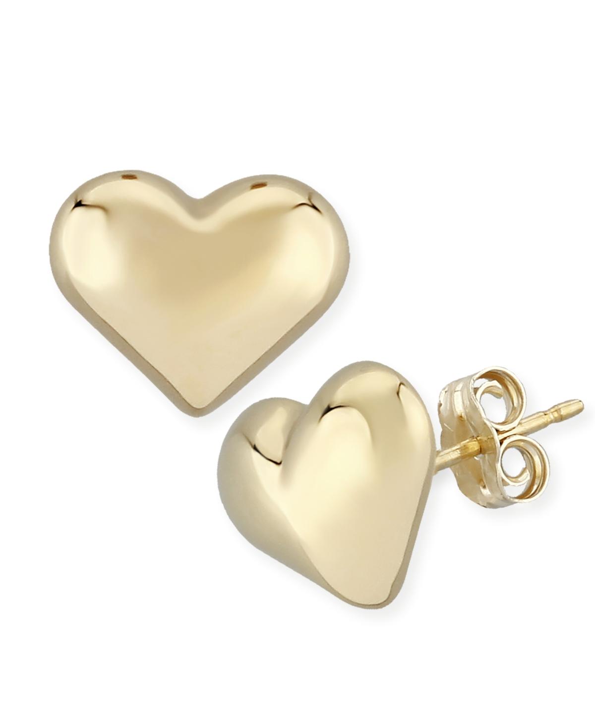 Puffed Heart Stud Earrings Set in 14k Yellow Gold (8mm)