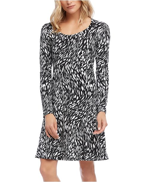 Karen Kane Abstract-Print A-Line Dress