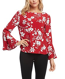 Printed Bell-Sleeve Top