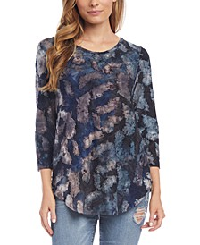 Printed 3/4-Sleeve Top