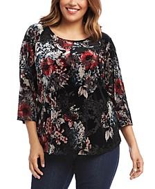 Plus Size Velvet Burnout 3/4-Sleeve Top