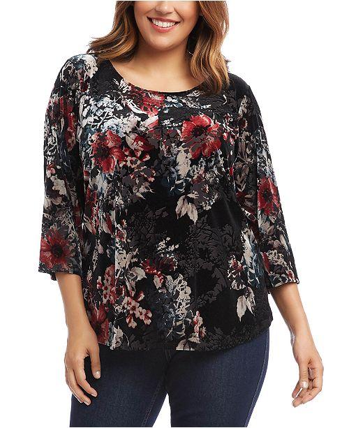 Karen Kane Plus Size Velvet Burnout 3/4-Sleeve Top