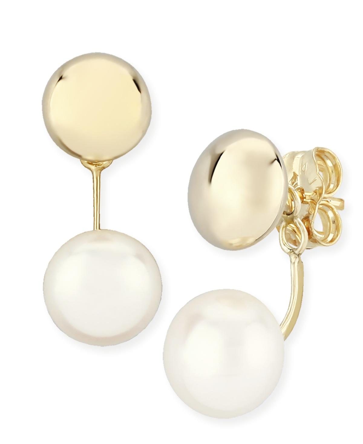 Flat Ball Pearl (8 1/2 mm) Drop Earrings Set in 14k Yellow Gold