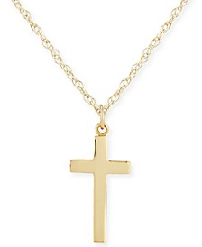 Flat Cross Necklace Set in 14k Gold