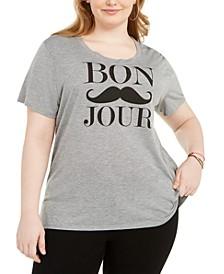 Trendy Plus Size Bonjour Graphic T-Shirt