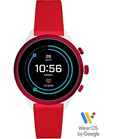 Unisex Sport HR Red Silicone Strap Touchscreen Smart Watch 41mm, Powered by Wear OS by Google™