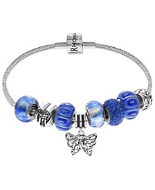 Link Up Butterfly Crystal and Glass Bead Charm Bracelet in Sterling Silver