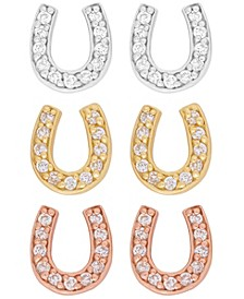 Link Up 3-Piece Set Crystal Horseshoe Stud Earrings in 18K Gold Over Sterling Silver