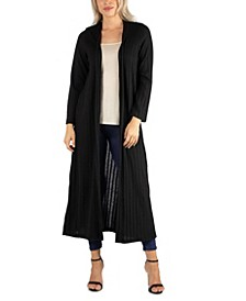 Long Open Front Maxi Length Cardigan