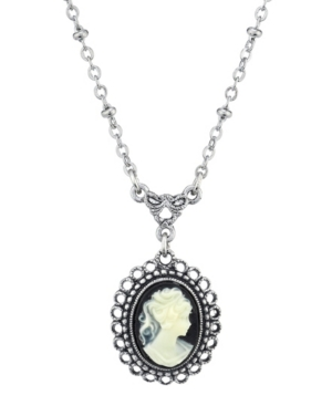 Oval Cameo Drop Necklace