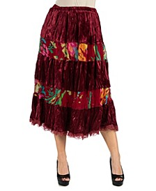 Wine Colored Velvet Midi Skirt