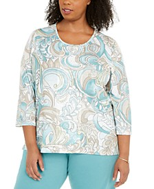 Plus Size Cottage Charm Beaded Top