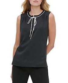 Textured-Dot-Print Tie-Neck Top